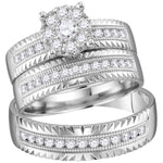 14kt White Gold His & Hers Round Diamond Cluster Matching Bridal Wedding Ring Band Set .75ct