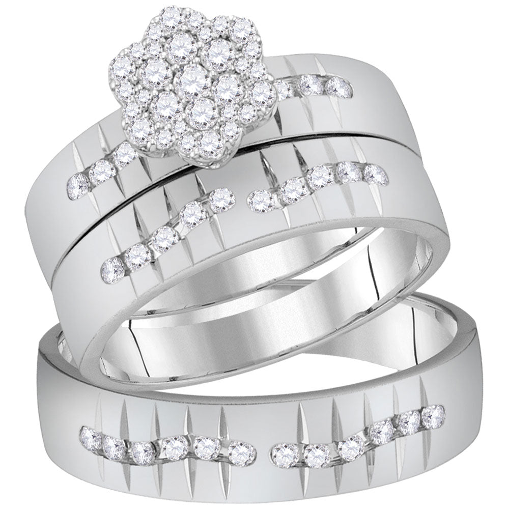 14kt White Gold His & Hers Round Diamond Cluster Matching Bridal Wedding Ring Band Set .63ct