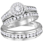 14kt White Gold His & Hers Round Diamond Solitaire Matching Bridal Wedding Ring Band Set 1.63ct
