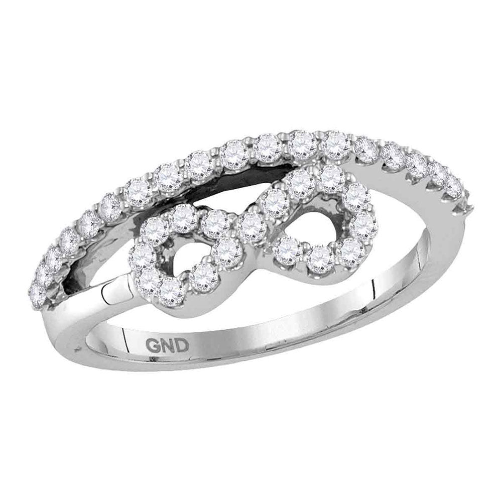 10kt White Gold Womens Round Diamond Woven Infinity Band Ring .50ct
