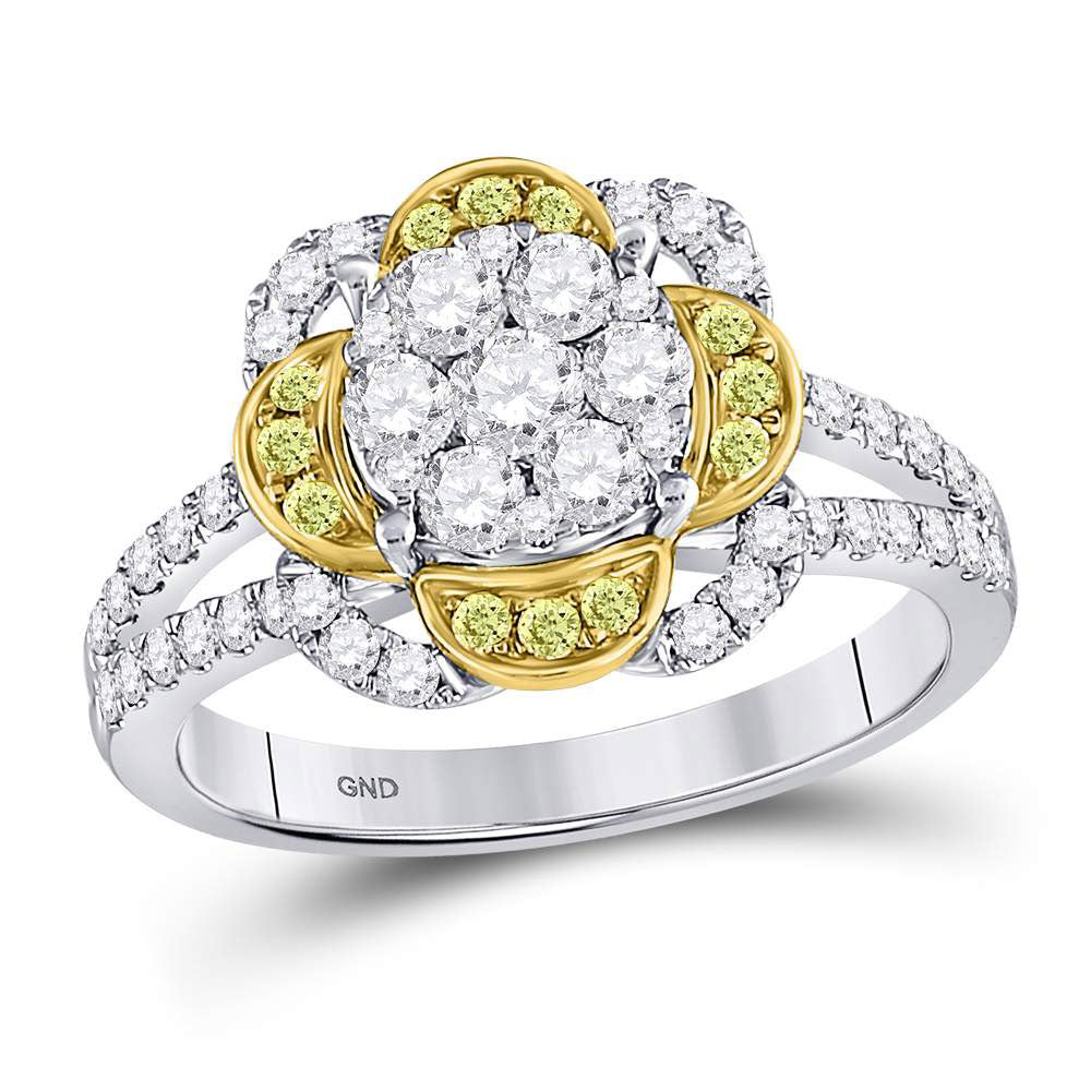 14kt White Gold Womens Round Yellow Diamond Flower Cluster Ring 1.00ct