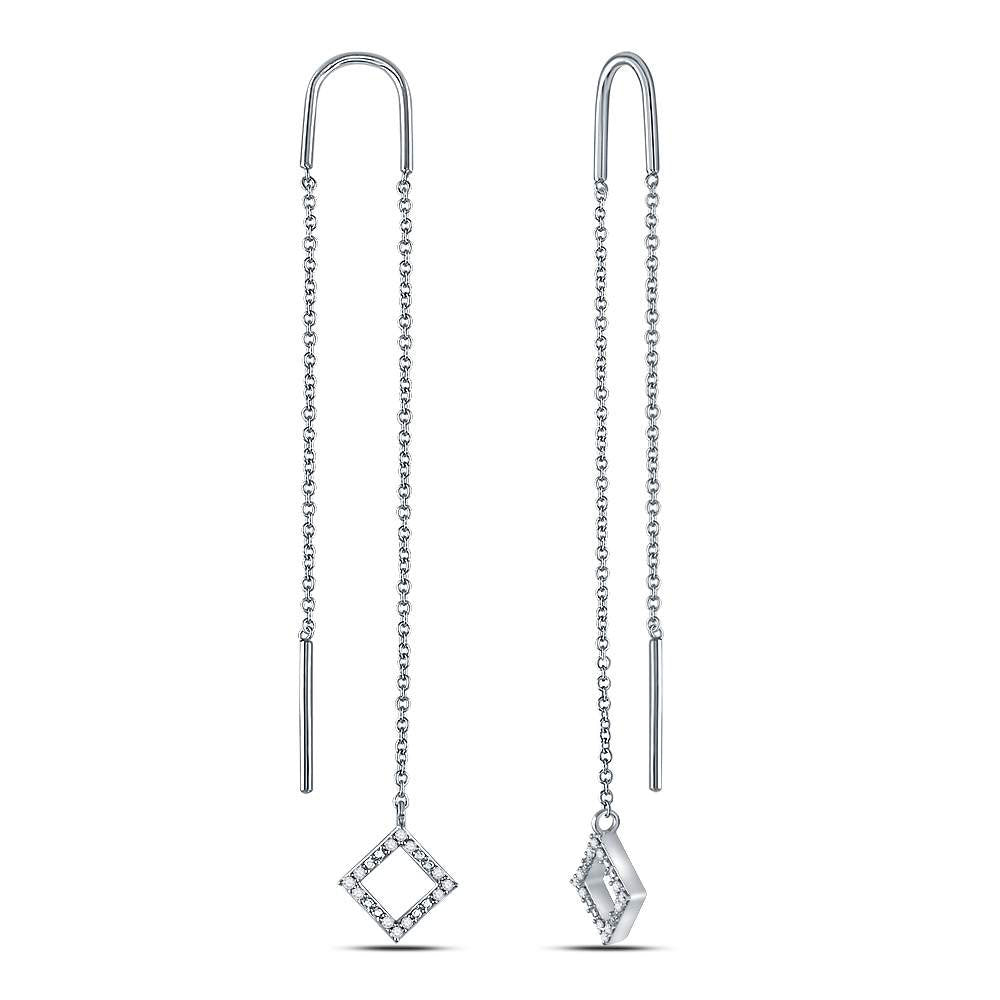 10kt White Gold  Round Diamond Threader Square Drop Earrings .10ct