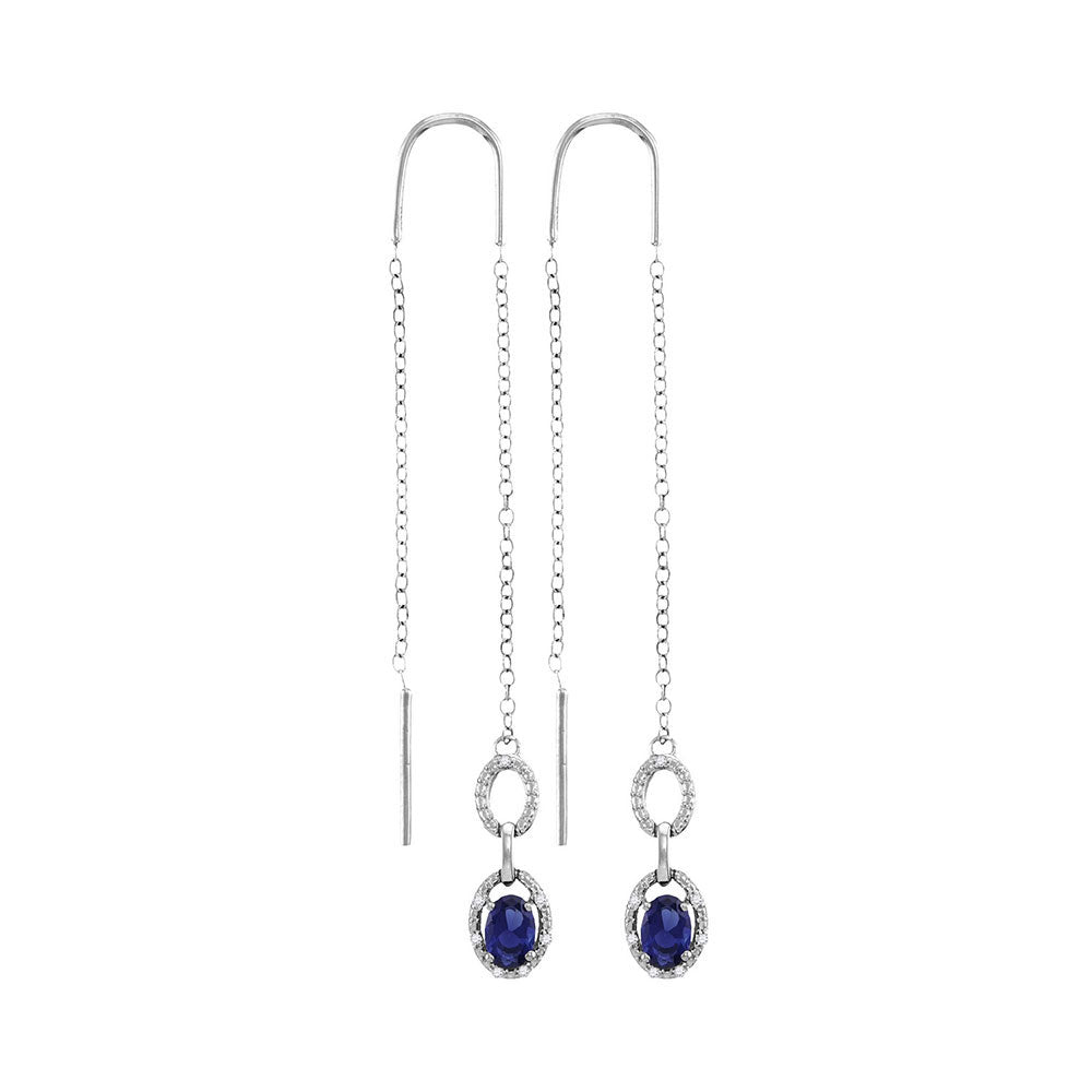 Sterling Silver  Oval Lab-Created Blue Sapphire Threader Earrings 1.00ct