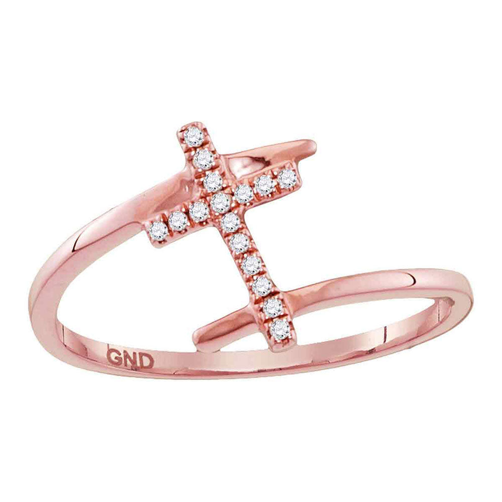10kt Rose Gold Womens Round Diamond Bisected Cross Religious Ring .08ct