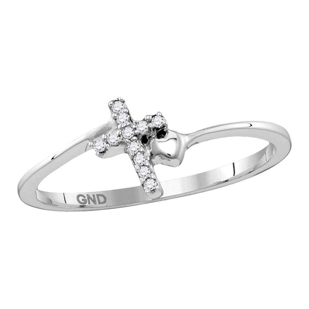 Sterling Silver Womens Round Diamond Delicate Slender Cross Religious Ring 0.05ct