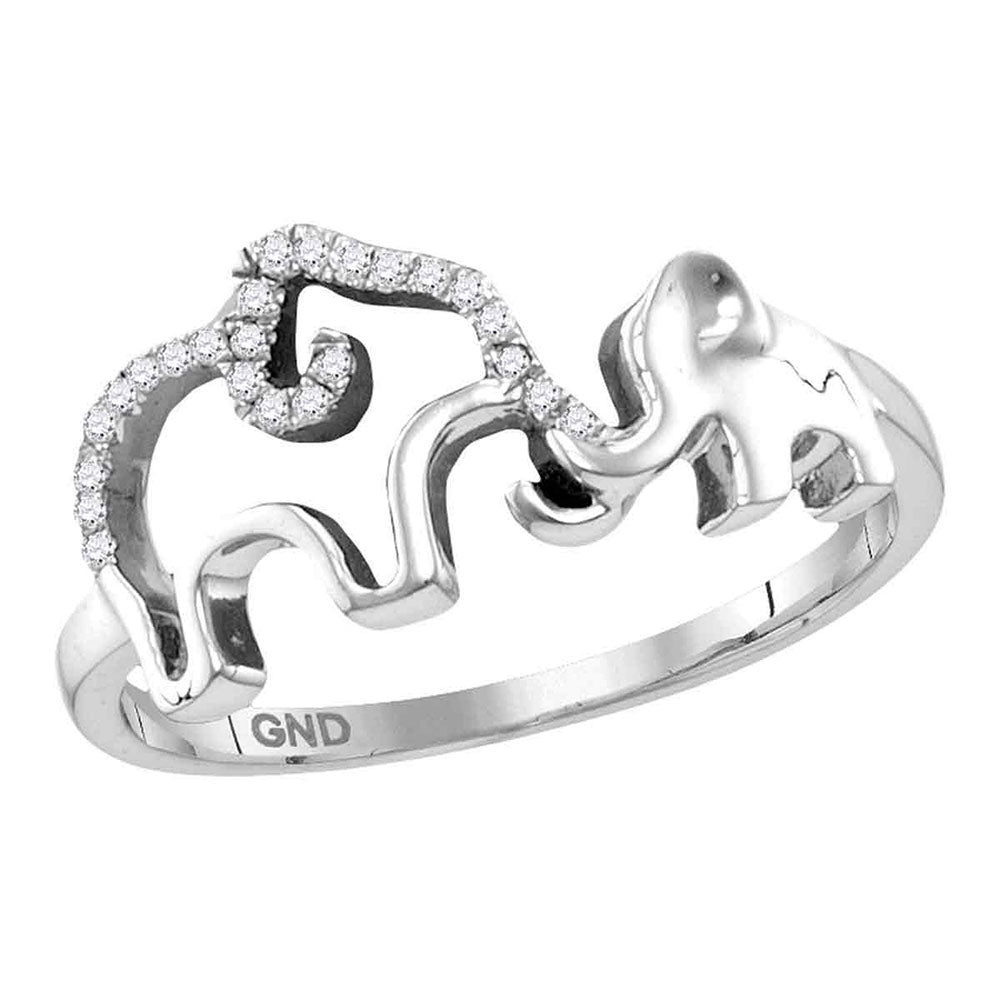 Sterling Silver Womens Round Diamond Double Elephant Animal Band Ring 0.05ct