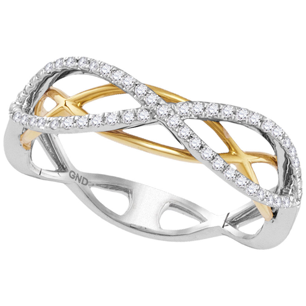 10kt Two-tone Gold Womens Round Diamond Infinity Band Ring .25ct