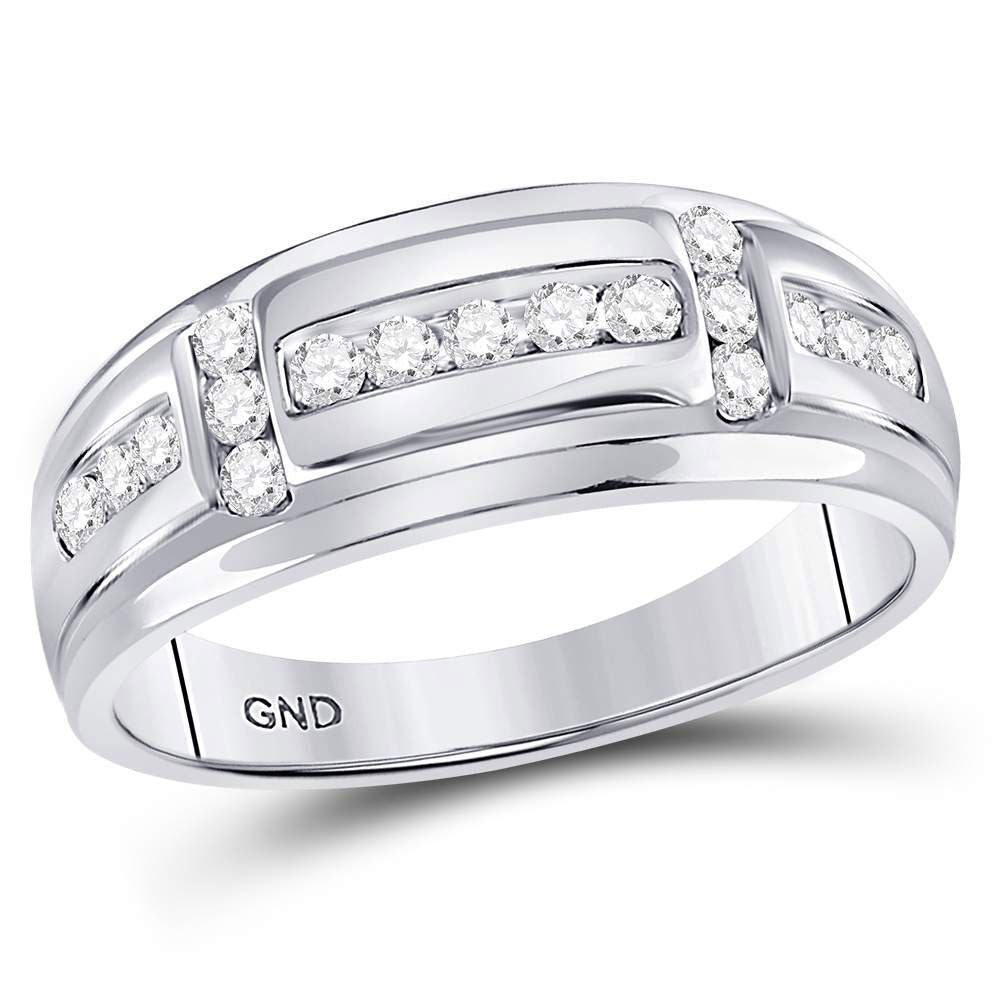 10kt White Gold Mens Round Diamond Channel-set Wedding Band Ring .50ct