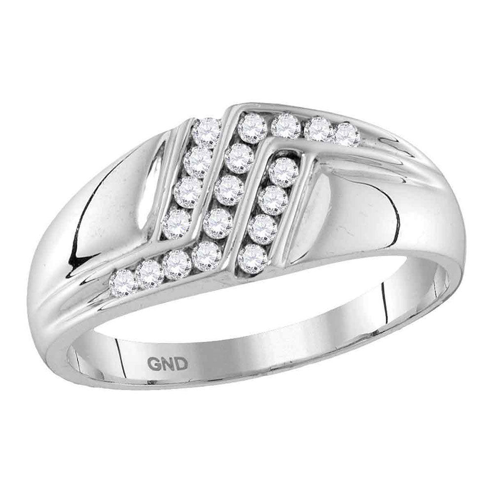 10kt White Gold Mens Round Diamond Triple Row Polished Band Ring .25ct