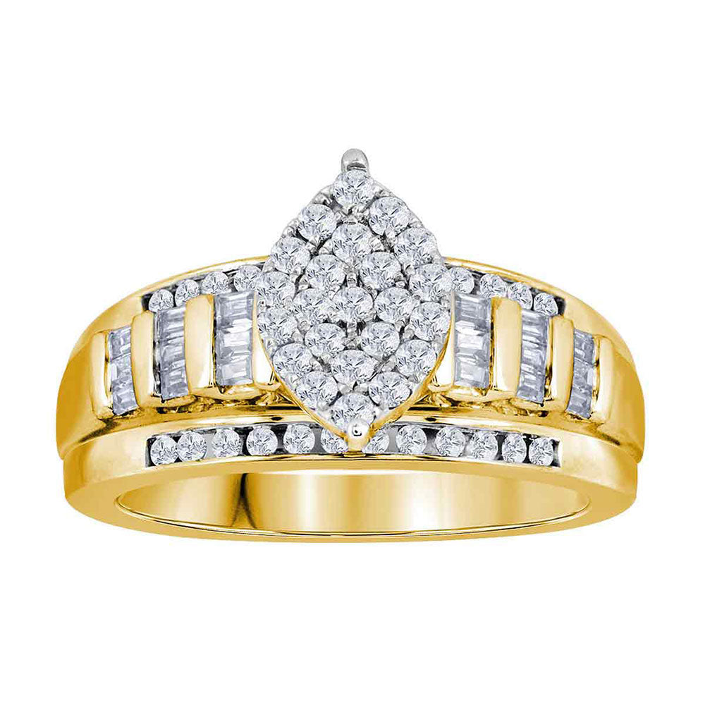 Yellow-tone Sterling Silver Womens Round Diamond Cluster Bridal Wedding Engagement Ring 1.00ct