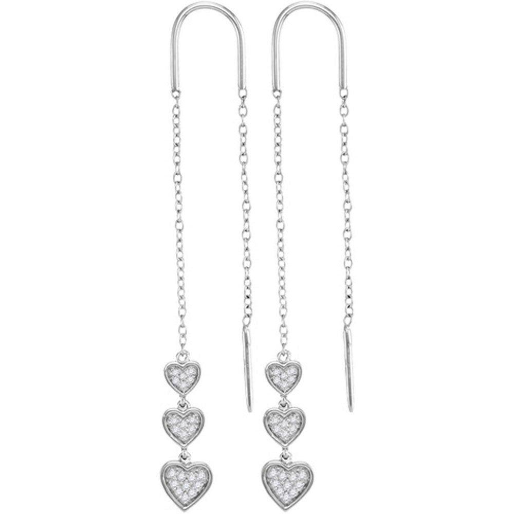 10kt White Gold  Round Diamond Triple Dangling Heart Threader Earrings .15ct
