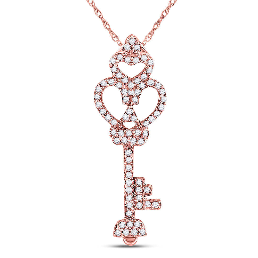 10kt Rose Gold Womens Round Diamond Trefoil Heart Key Pendant .15ct