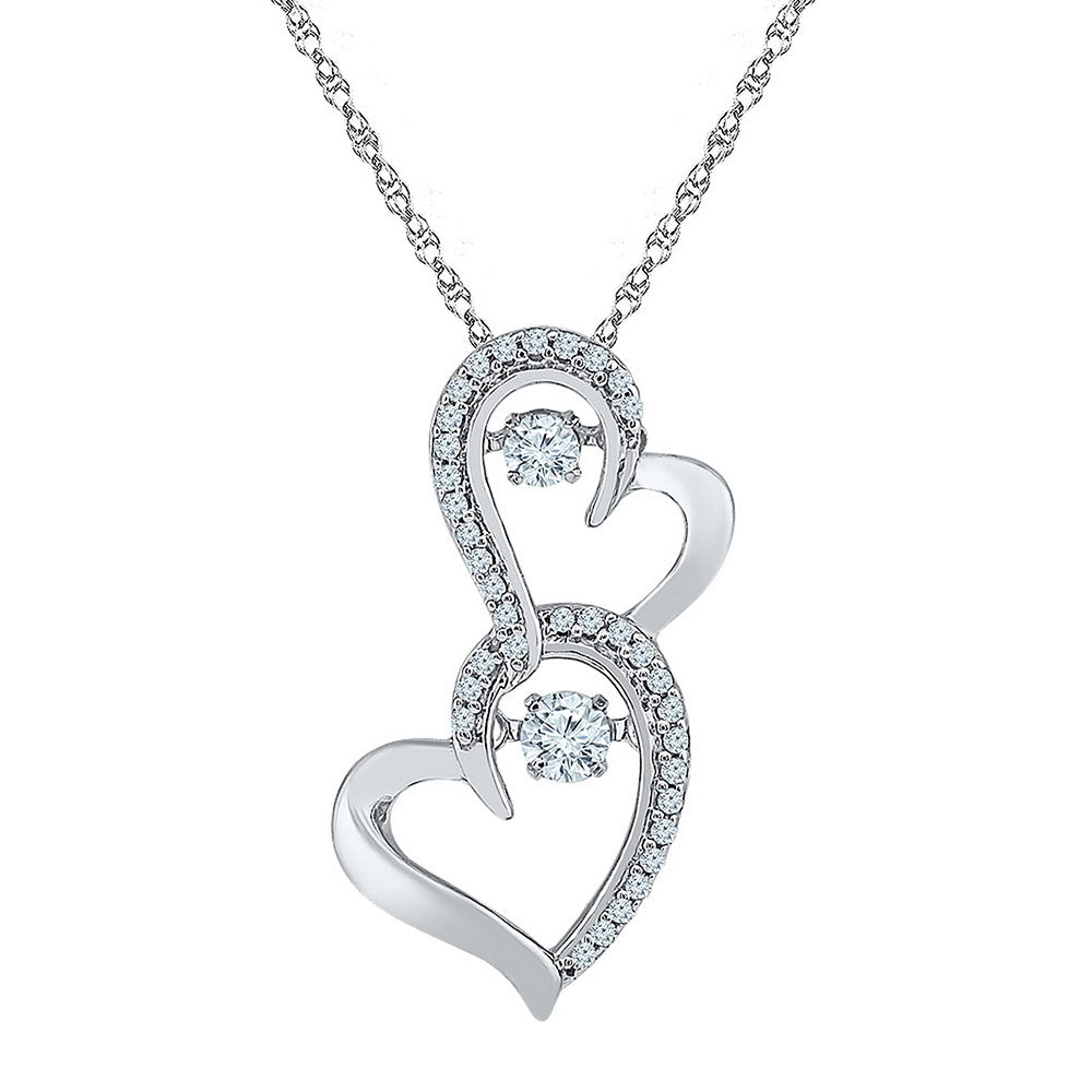 10kt White Gold Womens Round Diamond Moving Twinkle Solitaire Double Heart Pendant .25ct