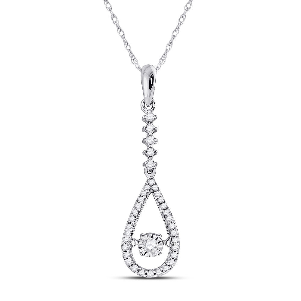 10kt White Gold Womens Round Moving Twinkle Diamond Teardrop Pendant .15ct
