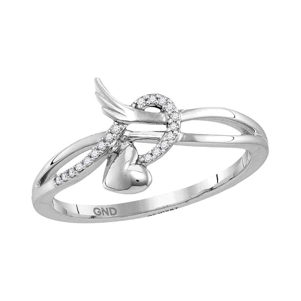 10kt White Gold Womens Round Diamond Heart Whimsical Band Ring 0.05ct