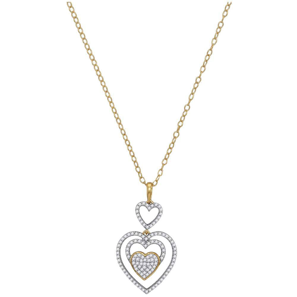 10kt Yellow Gold Womens Round Diamond Triple Nested Heart Pendant Necklace .35ct