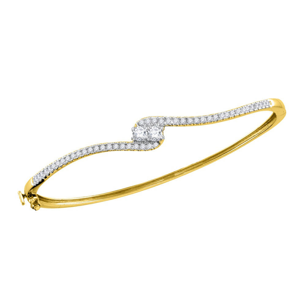 14kt Yellow Gold Womens Round Diamond 2stone Bypass Bangle Bracelet .75ct