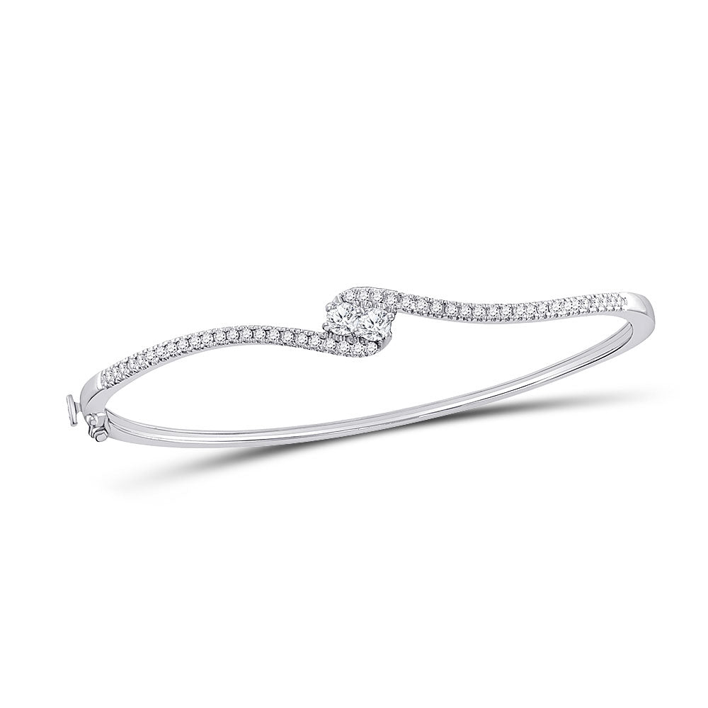 14kt White Gold Womens Round Diamond Bypass 2stone Bracelet .75ct