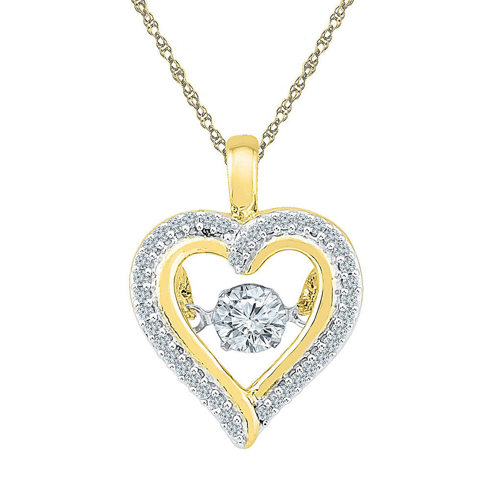 10kt Yellow Gold Womens Round Moving Twinkle Diamond Heart Outline Pendant .25ct
