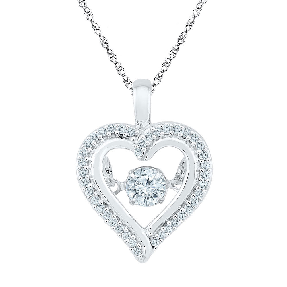 10kt White Gold Womens Round Moving Twinkle Diamond Heart Outline Pendant .25ct