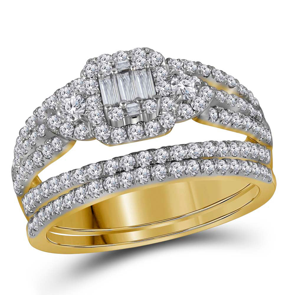 14kt Yellow Gold Womens Baguette Diamond Bridal Wedding Engagement Ring Band Set 1.00ct