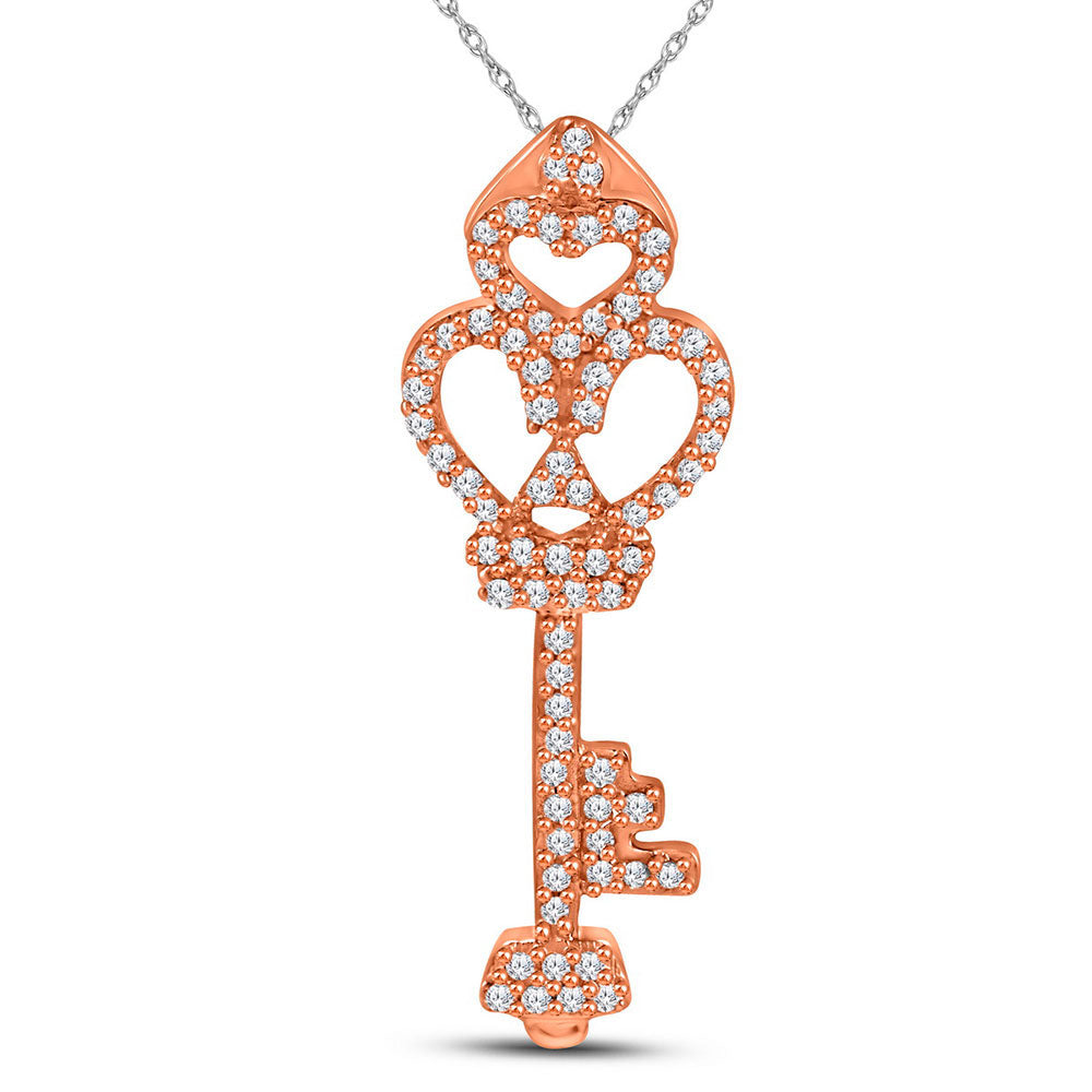 10kt Rose Gold Womens Round Diamond Trefoil Key Pendant .15ct