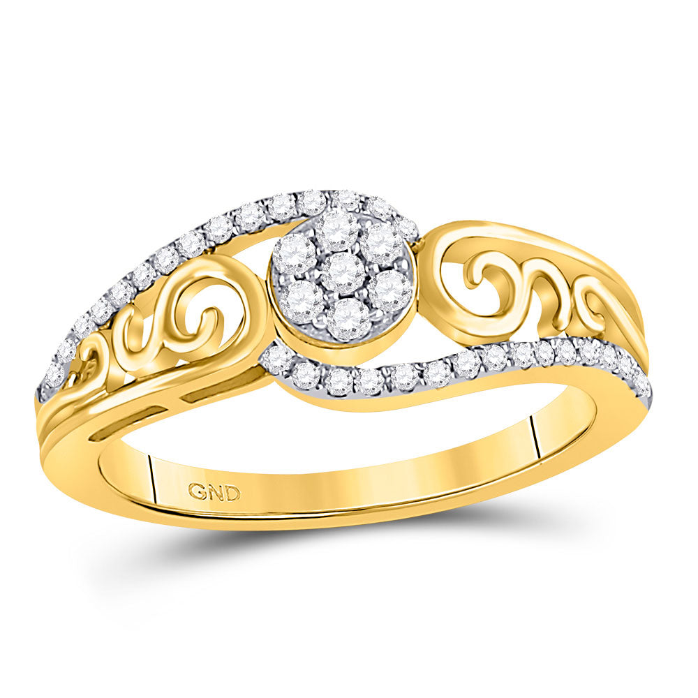 10kt Yellow Gold Womens Round Diamond Flower Cluster Scroll Curl Ring .25ct