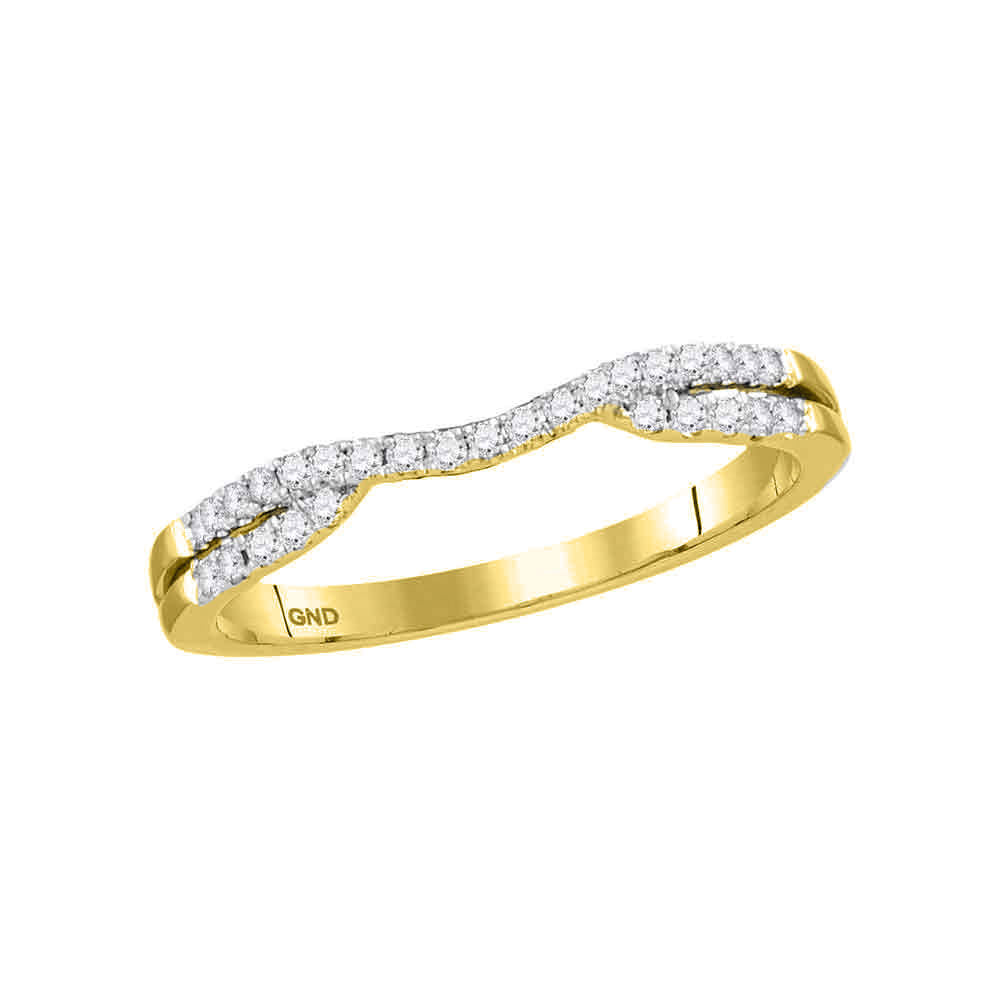 14kt Yellow Gold Womens Round Diamond Contour Enhancer Wedding Band Ring .17ct