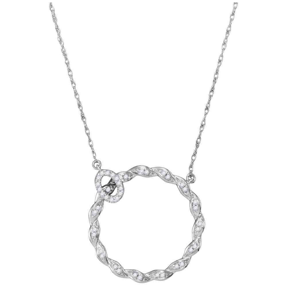 10kt White Gold Womens Round Diamond Circle Pendant Necklace .10ct