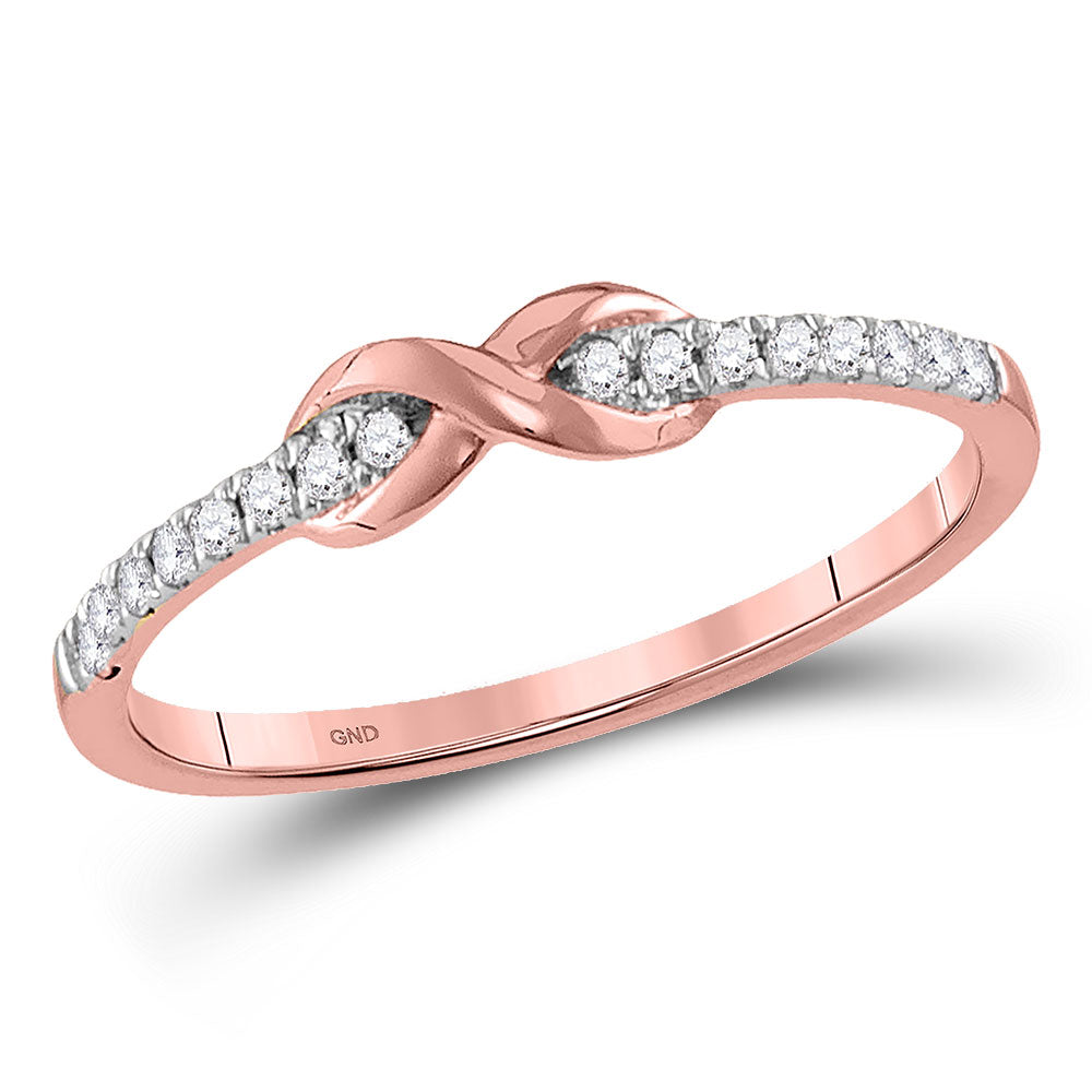 10kt Rose Gold Womens Round Diamond Infinity Knot Stackable Band Ring .10ct