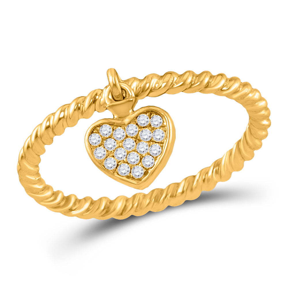 10kt Yellow Gold Womens Round Diamond Heart Drop Rope Stackable Band Ring .10ct