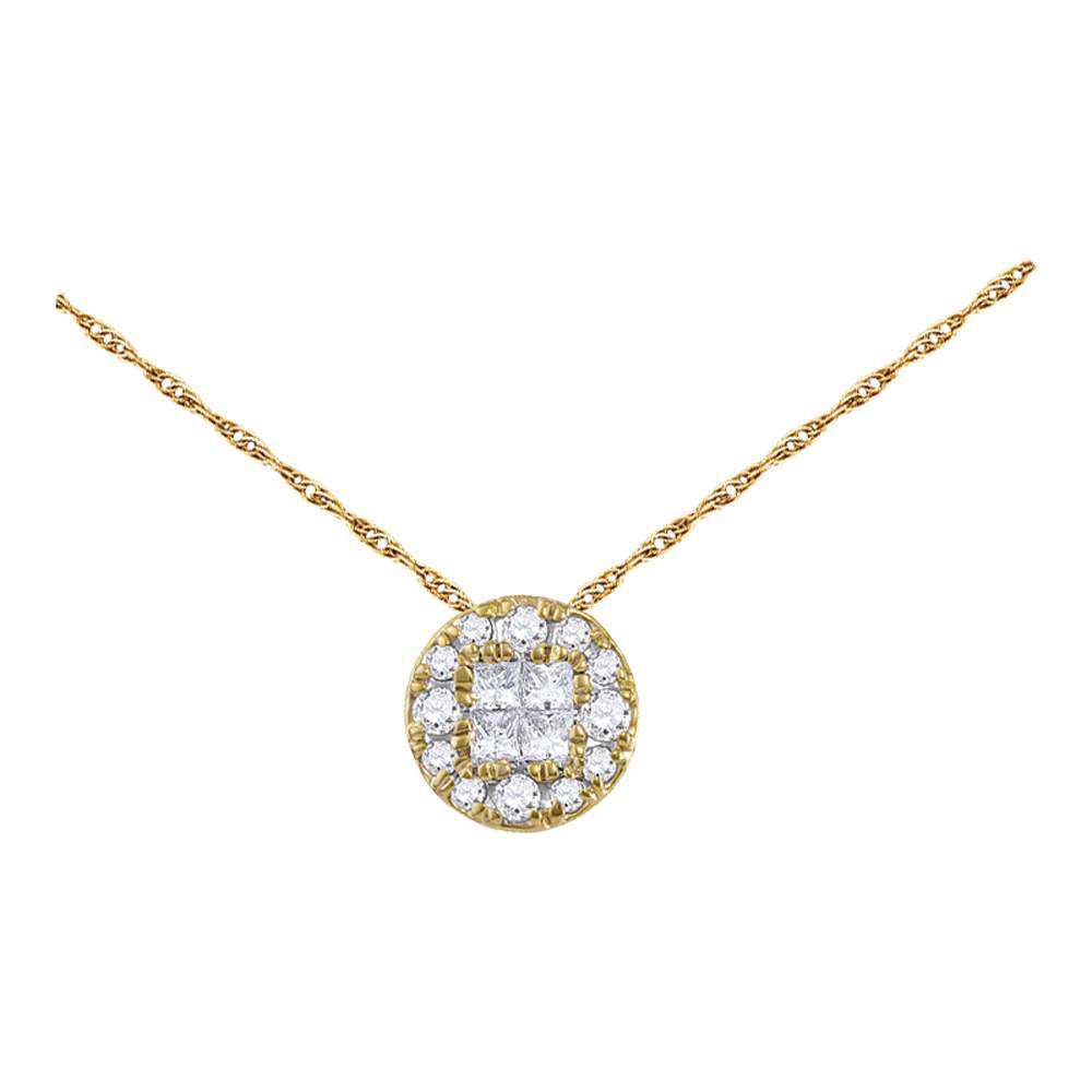 14kt Yellow Gold Womens Princess Diamond Fashion Cluster Pendant .25ct