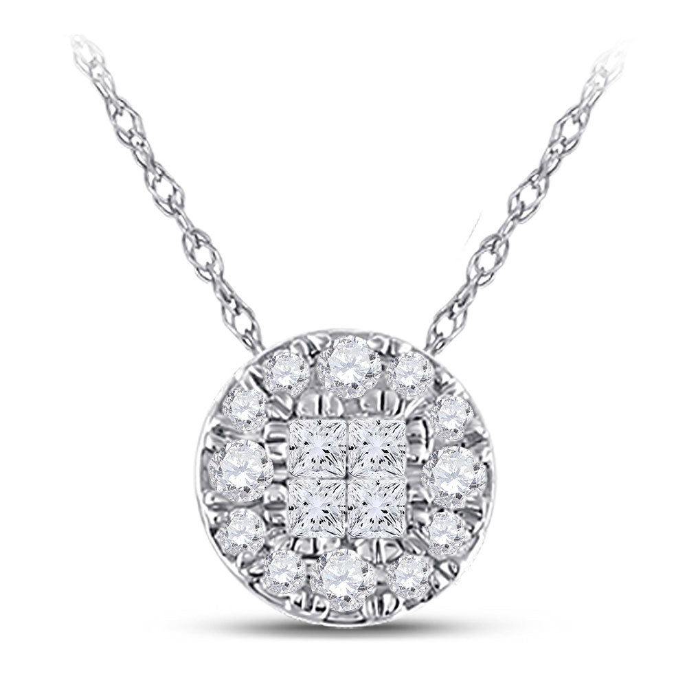 14kt White Gold Womens Princess Diamond Fashion Cluster Pendant .25ct