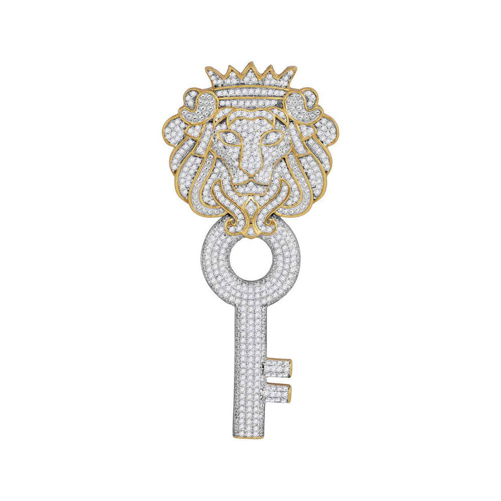 10kt Yellow Gold Mens Round Diamond King Lion Crown Key Charm Pendant 1.63ct