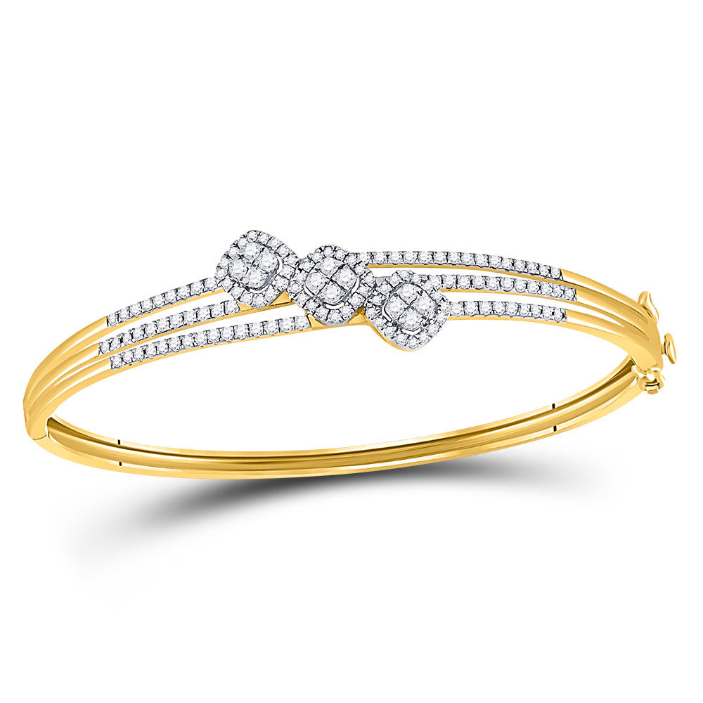 14kt Yellow Gold Womens Round Diamond Triple Cluster Bangle Bracelet 1.25ct