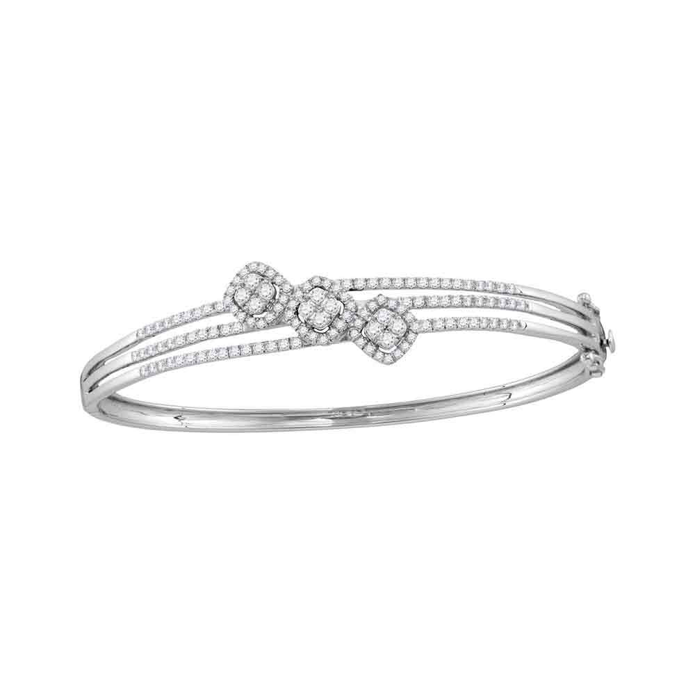 14kt White Gold Womens Round Diamond Triple Cluster Bangle Bracelet 1.25ct
