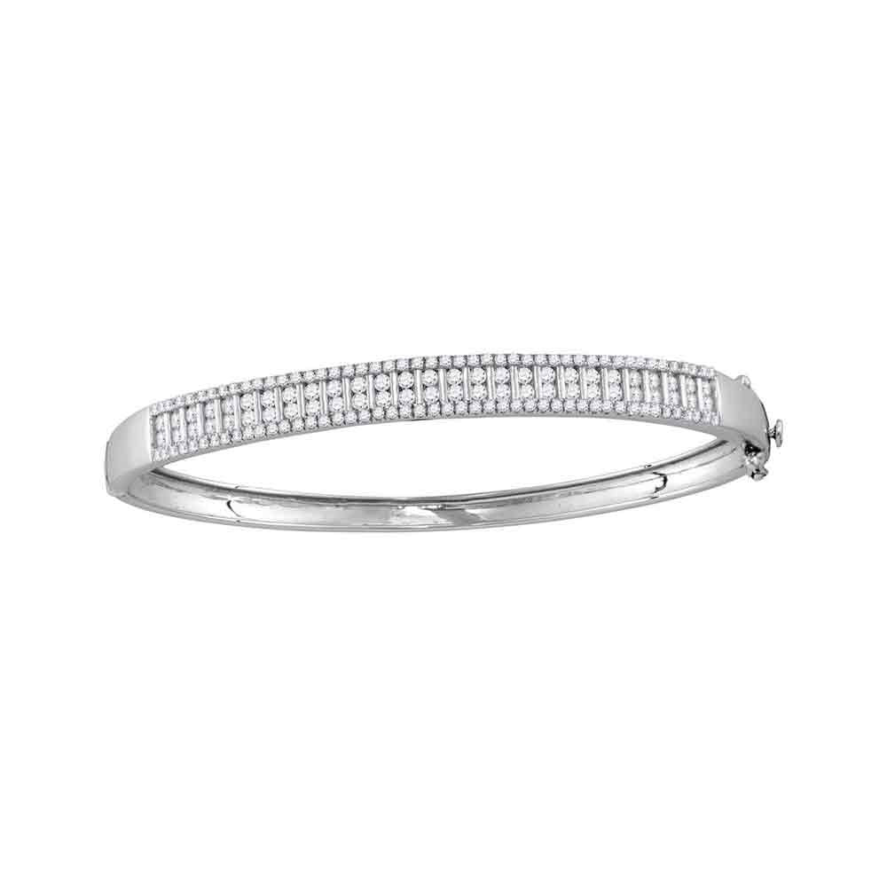 14kt White Gold Womens Round Diamond Bangle Bracelet 2.00ct