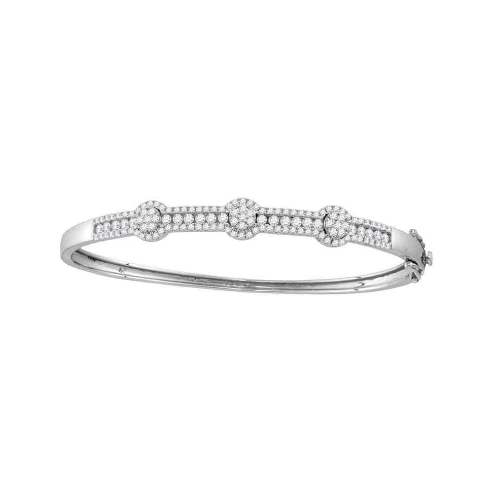 14kt White Gold Womens Round Diamond Flower Cluster Bangle Bracelet 1.75ct