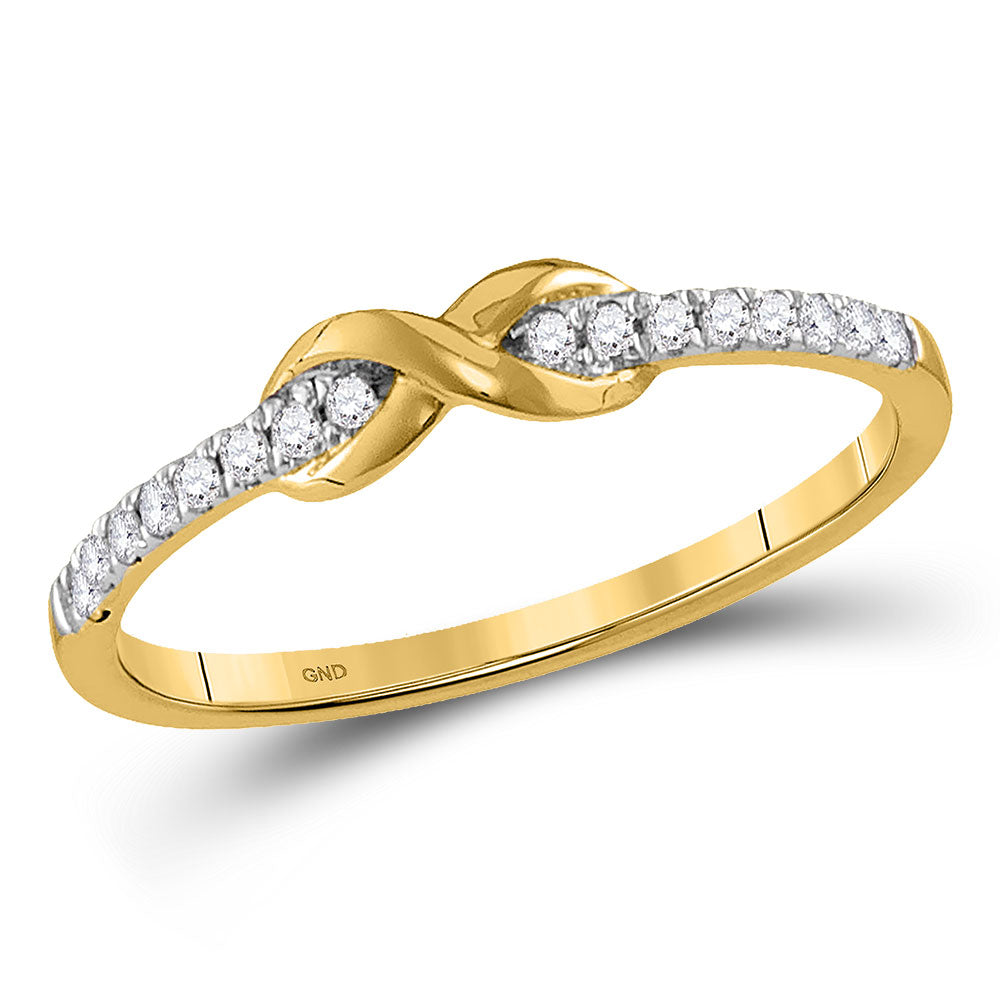 10kt Yellow Gold Womens Round Diamond Infinity Knot Stackable Ring .10ct