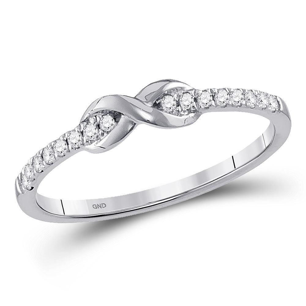 10kt White Gold Womens Round Diamond Infinity Knot Stackable Ring .10ct