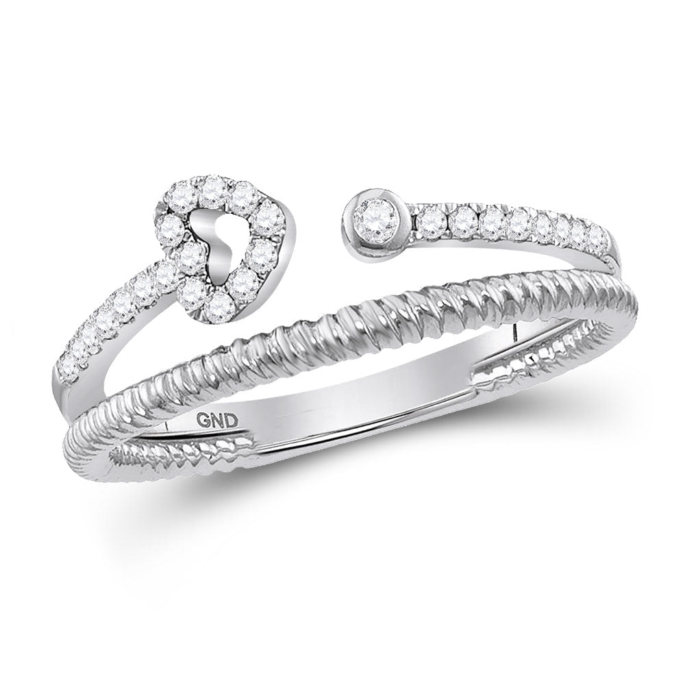 10kt White Gold Womens Round Diamond Opened Heart Stackable Band Ring .15ct