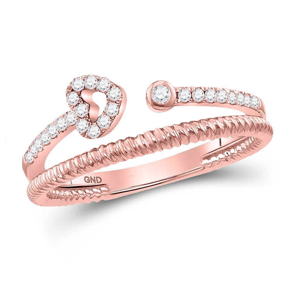 10kt Rose Gold Womens Round Diamond Opened Heart Stackable Band Ring .17ct