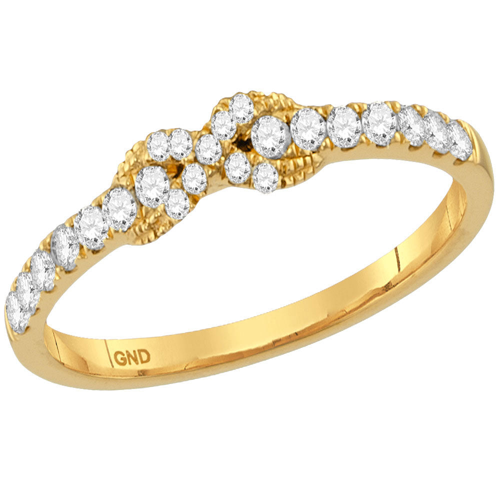 10kt Yellow Gold Womens Round Diamond Infinity Knot Stackable Band Ring .25ct
