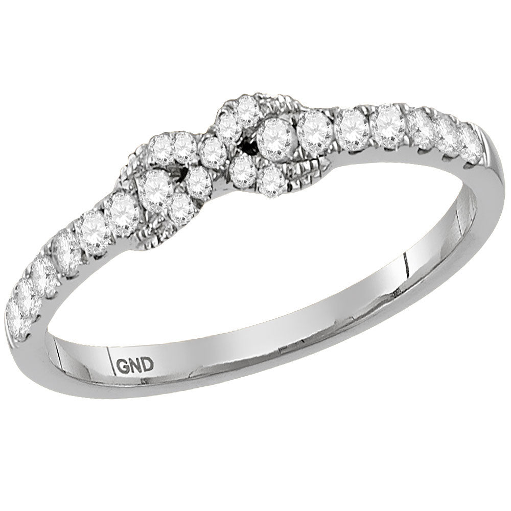 10kt White Gold Womens Round Diamond Infinity Knot Stackable Band Ring .25ct