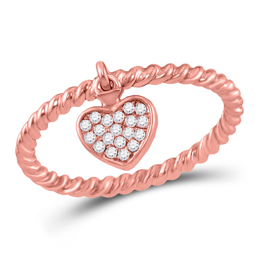 10kt Rose Gold Womens Round Diamond Heart Drop Rope Stackable Band Ring .10ct