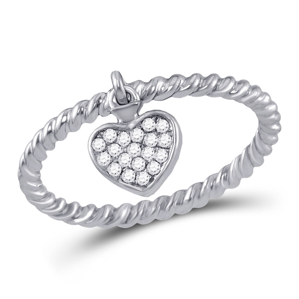 10kt White Gold Womens Round Diamond Heart Drop Stackable Band Ring .13ct