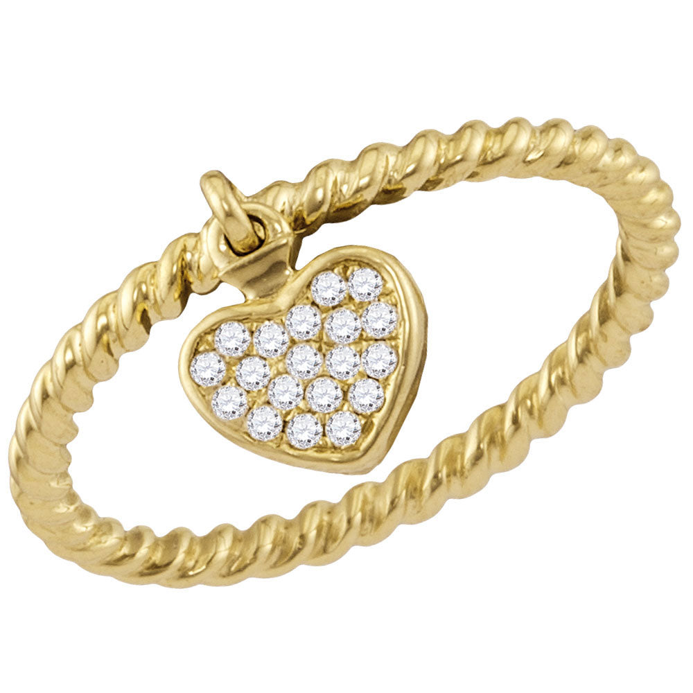 14kt Yellow Gold Womens Round Diamond Heart Drop Stackable Band Ring .10ct