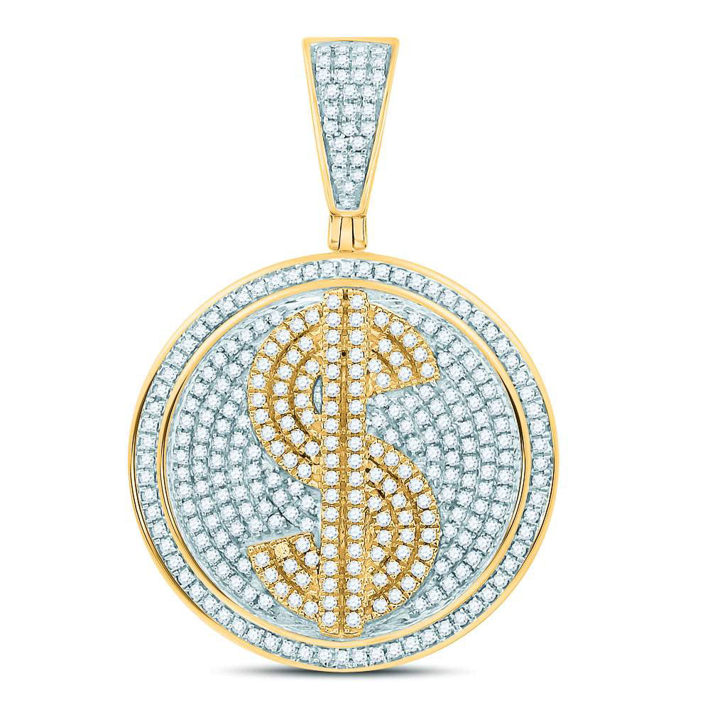 10kt Yellow Gold Mens Round Diamond Dollar Sign Circle Charm Pendant 1.00ct