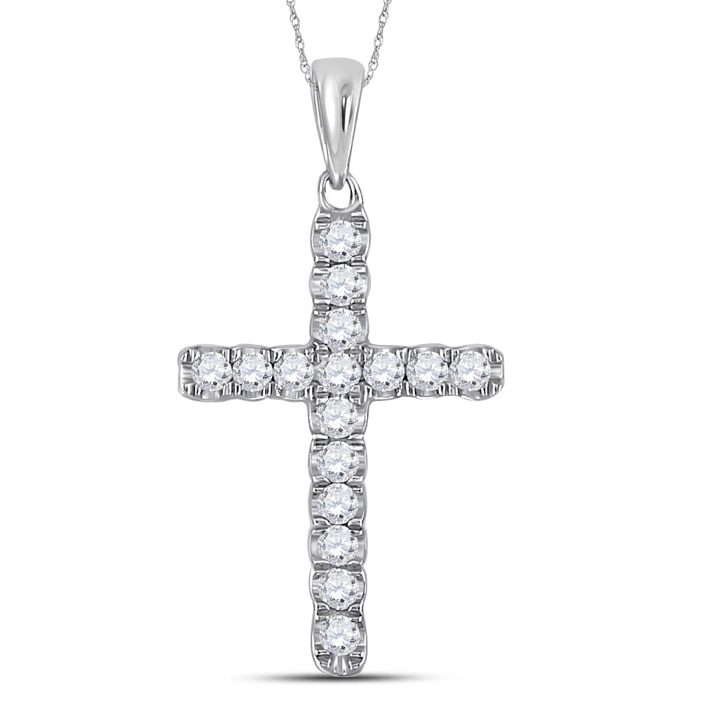 10kt White Gold Womens Round Diamond Religious Cross Pendant .25ct
