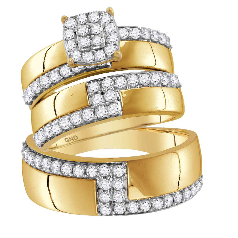 14kt Yellow Gold His & Hers Round Diamond Cluster Matching Bridal Wedding Ring Band Set 1.50ct